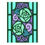 Deco Roses in Aqua and Purple Postcard