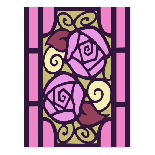 Deco Roses in Pink and Gold Postcard