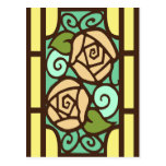 Deco Roses in Yellow and Tan Postcard