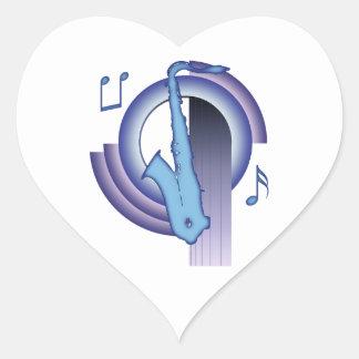 Deco Saxophone Heart Sticker