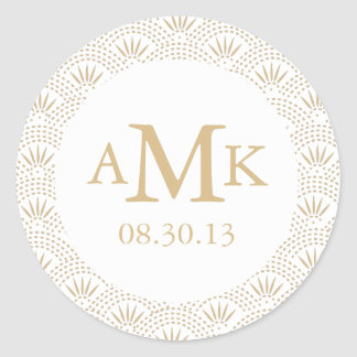 Deco Seigaiha Wedding Monogram Stickers