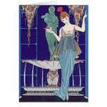 Deco Woman in Blue Greeting Cards