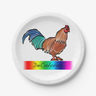 DeColores Rooster Paper Plates 7 Inch Paper Plate