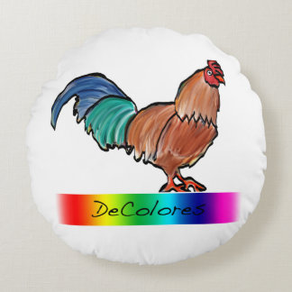 DeColores Rooster Pillow Round Pillow