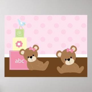 Décor de Brown et de mur d'enfants d'ours de rose Poster