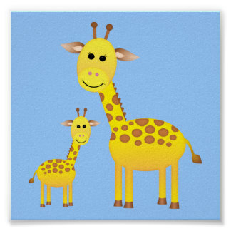 Décor de crèche de girafe de bébé poster
