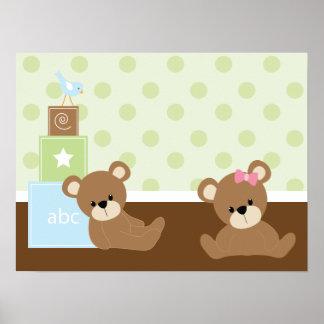 Décor de mur d'enfants d'ours de Brown Poster