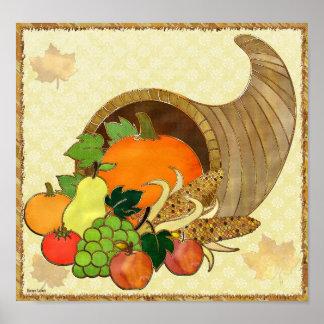 DÉCOR élégant de médias mélangés de thanksgiving Poster
