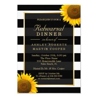 Décor élégant de tournesols de dîner de répétition carton d'invitation  12,7 cm x 17,78 cm