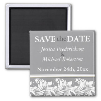 Decor Flourish Gray Beige Save the Date Magnets