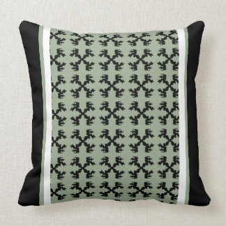 Decor Pattern Black Moss Ornate Striped Pillow 20