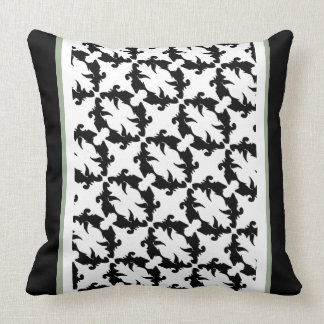 Decor Pattern Black Moss Ornate Striped Pillow 24