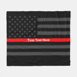 Decor Thin Red Line Personalized Black US Flag Fleece Blanket