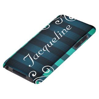 Décor turquoise élégant foncé avec le nom variable étuis iPod touch