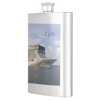 Decorated Bow Monogrammed Hip Flask