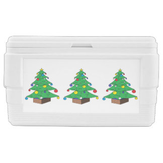 Decorated Christmas tree cartoon Cooler