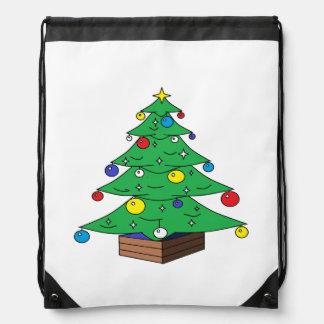 Decorated Christmas tree cartoon Drawstring Bag