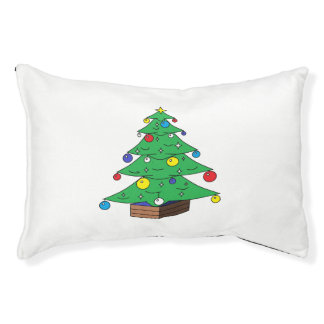 Decorated Christmas tree cartoon Pet Bed