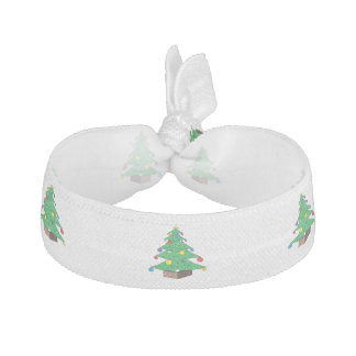 Decorated Christmas tree cartoon Ribbon Hair Tie