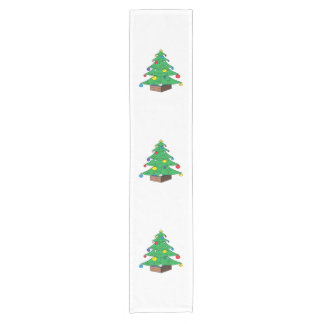Decorated Christmas tree cartoon Short Table Runner