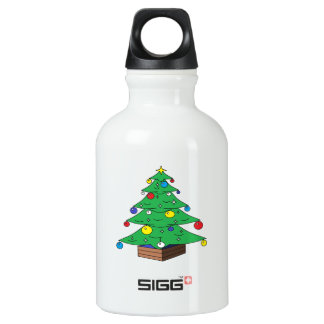 Decorated Christmas tree cartoon Water Bottle