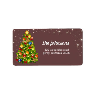 Decorated Christmas tree holiday labels