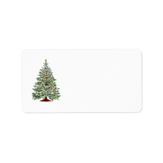 Decorated Christmas tree Label