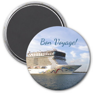 Decorated Cruise Ship Bow Bon Voyage 3 Inch Round Magnet