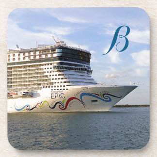 Decorated Cruise Ship Bow Monogrammed Coaster
