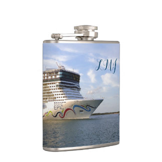 Decorated Cruise Ship Bow Monogrammed Hip Flask