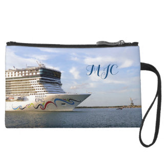 Decorated Cruise Ship Bow Monogrammed Suede Wristlet