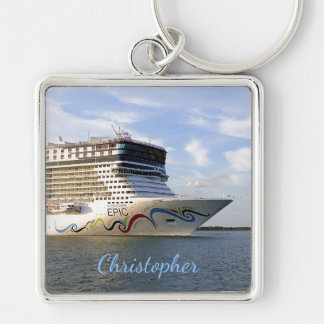Decorated Cruise Ship Bow Personalized Silver-Colored Square Keychain