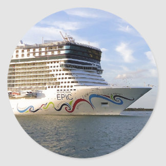 Decorated Cruise Ship Bow Round Sticker