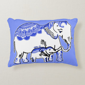 Decorated Elephants Cornflower Blue Accent Pillow