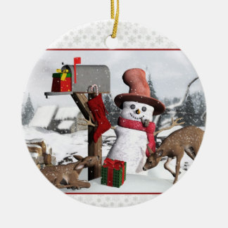 Decorated Mailbox Snowman Deer and Gifts Ornament