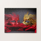 Decorated masquerade mask on red velvet jigsaw puzzle