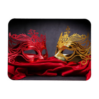 Decorated masquerade mask on red velvet rectangular photo magnet