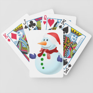 Decorated Snowman Bicycle Playing Cards