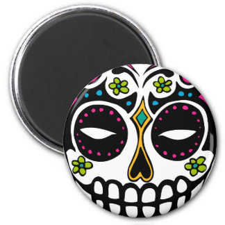 Decorated Sugar Skull 2 Inch Round Magnet