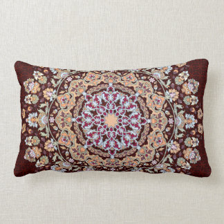 Decorated Tazhib of the Persian art in garnet Lumbar Pillow