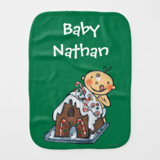 Decorating a Gingerbread House for Christmas Baby Burp Cloth
