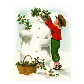 Decorating the Snowman Postcard