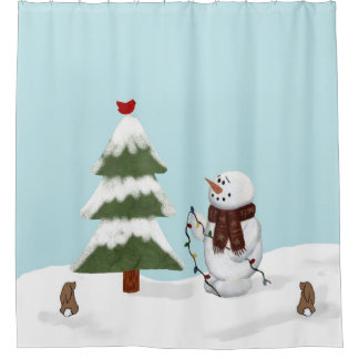 Decorating The Tree Snowman Shower Curtain