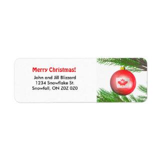Décoration canadienne d arbre de Noël Étiquette D'adresse Retour