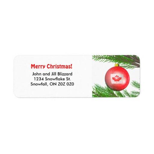 Décoration canadienne d'arbre de Noël Étiquette D'adresse Retour