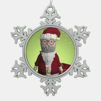 Décoration d'arbre de Noël de père Ornement Flocon De Neige Pewter