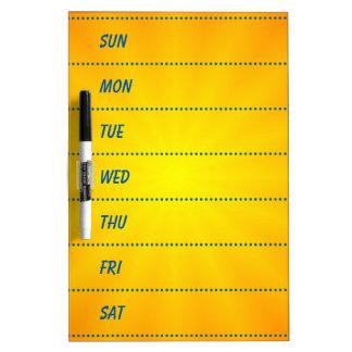 Decorative 7-Day Planner Dry Erase Board
