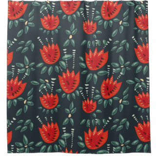 Decorative Abstract Red Tulip Dark Floral Pattern