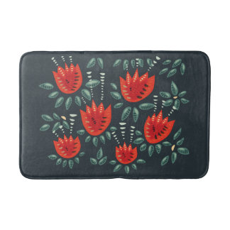 Decorative Abstract Red Tulip Dark Floral Pattern Bath Mat