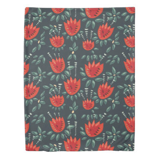Decorative Abstract Red Tulip Dark Floral Pattern Duvet Cover